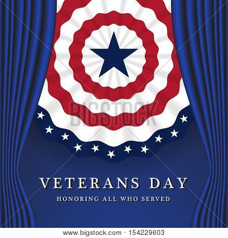 Veterans Day Honoring All Who Served. Veterans Day Background With Circle Wavy USA Flag Design. Vector illustration