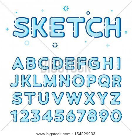 Funny sketchy vector font in line-art style with colorful fills. Ideal to use in web design or in printing design. Trendy modern vector style. Latin letters from A to Z and numbers from 0 to 9.