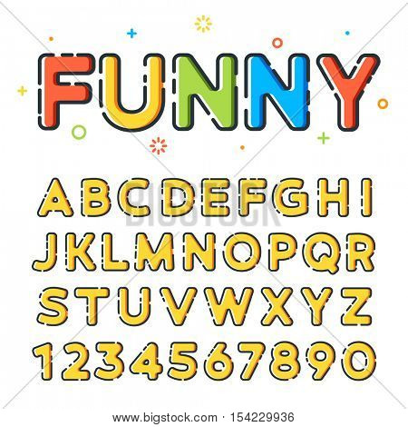 Funny sketchy vector font in line-art style with colorful fills. Ideal for children birthday invitation card or postcard. Trendy modern vector style. Latin letters from A to Z and numbers from 0 to 9.