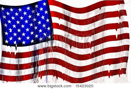 American Flag Wet And Colors Runny