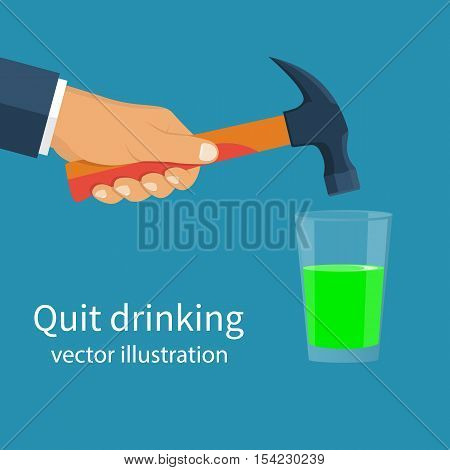 Man throws a drink concept. Holding a hammer above a glass absinthe. Intention to break the glass. Alcoholic beverages.