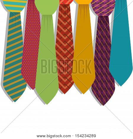 Multiple ties in various colors with figures vector illustration