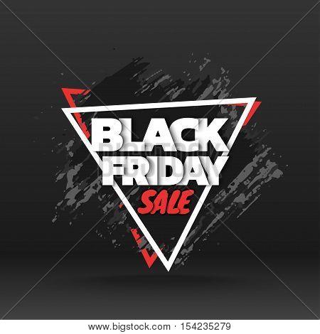 Black friday sale. Abstract grunge black brush stroke. Vector illustration