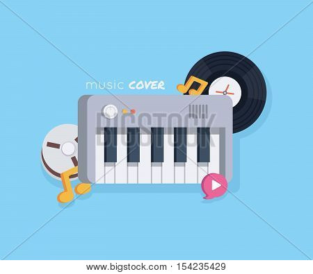 Music concept with music tools in flat style: synthesizer, record, notes, recordable babin . Vector illustration