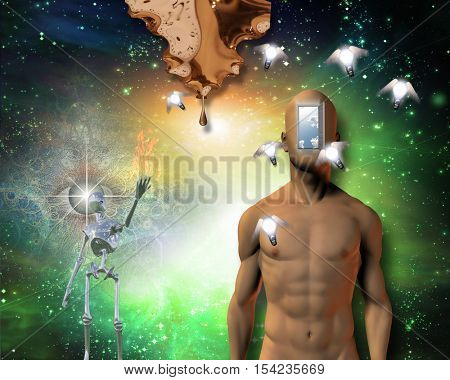 Naked man open door in face, winged light bulbs, warped time drips, gleaming robot, large flame, watchful eye and further still is deep space Some elements provided courtesy of NASA  3D render