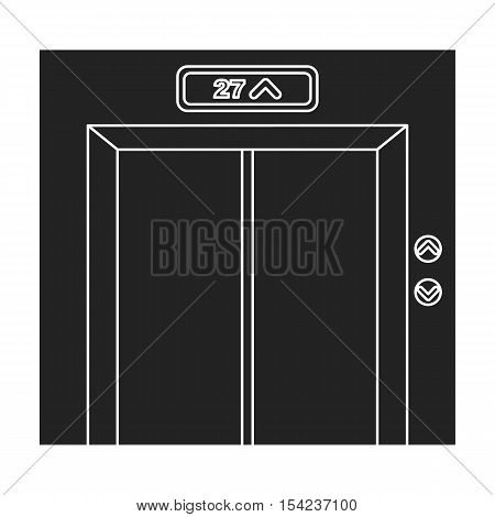 Elevator icon in black style isolated on white background. Hotel symbol vector illustration.