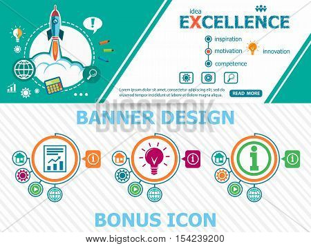 Excellence design concepts and abstract cover header background for website design. Horizontal advertising business banner layout template