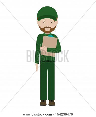 body messenger with table notepad vector illustration