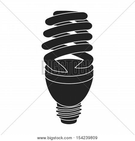 Fluorescent lightbulb icon in black style isolated on white background. Light source symbol vector illustration