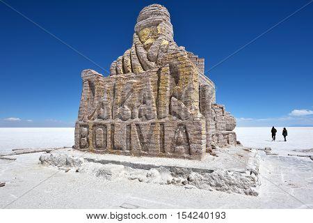 UYUNI BOLIVIA - AUGUST 28 2016: Dakar Rally Monument in Salar de Uyuni (Salt Lake) near Uyuni Bolivia.