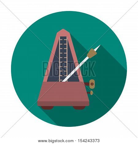 Metronome icon in flat style isolated on white background. Musical instruments symbol vector illustration