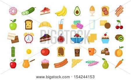 Breakfast icons set on white background. Isolated colorful icons with different breakfast meals like eggs, bananas, bacon, alarm, milk and more.