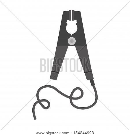 silhouette electric pin with wired vector illustration