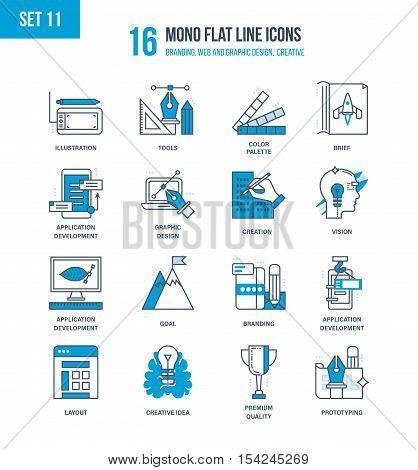 Mono Flat Line icons set of branding, web and graphic design, creative, education, software development, brief, vision, branding. Vector illustration. Editable Stroke