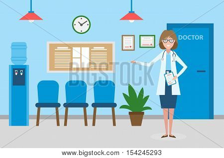 Doctor in waiting room. Beautiful smiling woman in white standing in waiting room. Hospital interior with chairs and health care information.