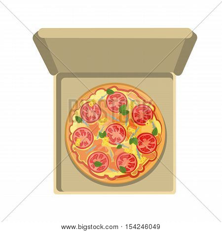 Italian pizza in box. Isolated fresh and tasty italian snack on white background. Pizza with anchovies, tomatoes, ham and cheese.