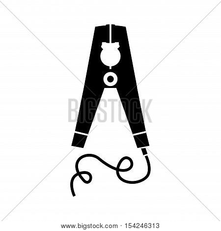 black silhouette electric pin with wired vector illustration