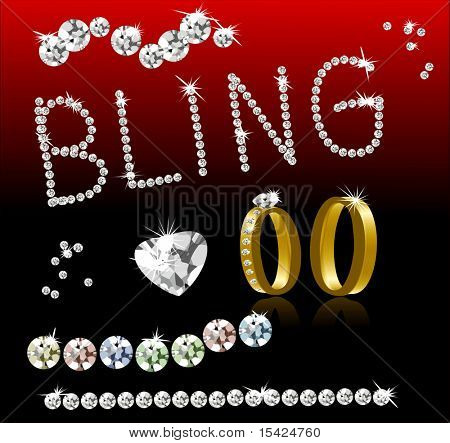 Vector Bling Diamonds and Gold Rings. Easily Write Any Word In Diamonds. Jpeg is also in my portfolio.