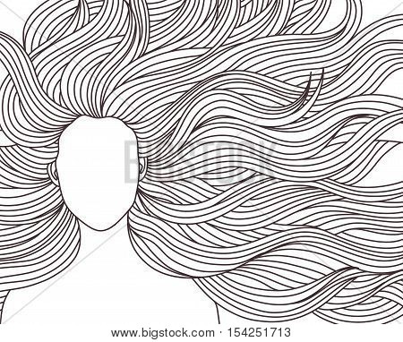 Vector illustration beauty girl with very long hair. A woman model fashion beauty salon. hairstyle. For signs banners advertisements business cards