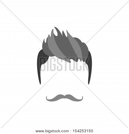 Hipster Male Hair and Facial Hair Style With Handlebar Moustache. .Hair, Beard And Moustache Style Design Template