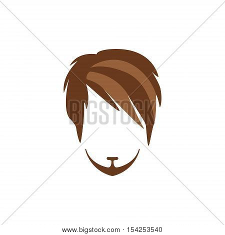 Hipster Male Hair and Facial Hair Style With Side Fringe And Goatee.Hair, Beard And Moustache Style Design Template