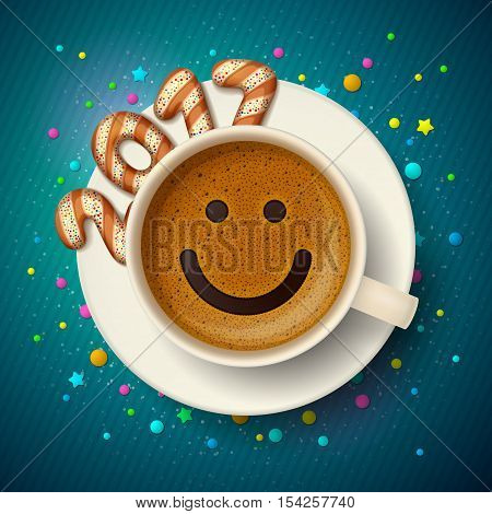 Coffee cup with smiling face on frothy surface. Cookies in form of digits are forming together a number 2017 on saucer, on blue background. Good mood and vivacity for New Year 2017