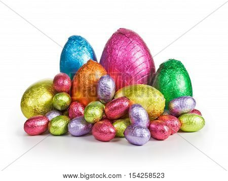 Large group of chocolate candy Easter eggs wrapped in foil