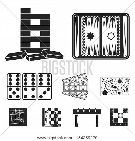 Board games set icons in black style. Big collection of board games vector symbol stock