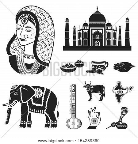 India set icons in black style. Big collection of India vector symbol stock