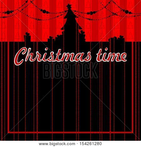 black and red Christmas background with the silhouette of a Christmas tree