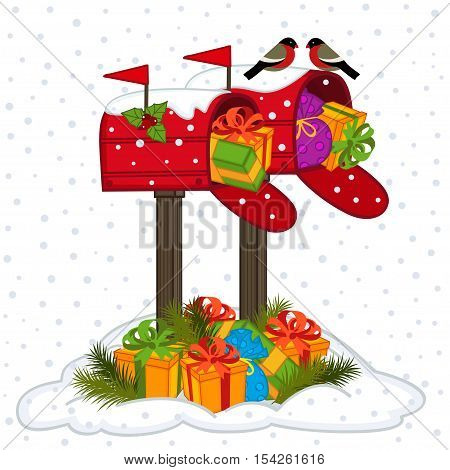 mailbox with Christmas gifts - vector illustration, eps