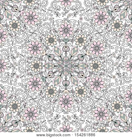 Vintage seamless pattern with curls and pastel flowers vector