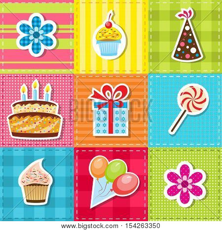 patchwork with birthday party elements: cake, flower, cap