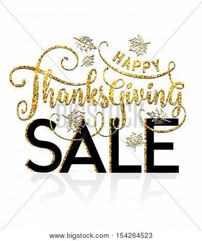 Vector Illustration Of Happy Thanksgiving Sale, Luxury Design