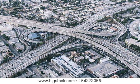 Freeway junction aerial view in Los angeles california