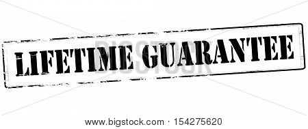 Rubber stamp with text lifetime guarantee inside vector illustration