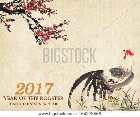 2017 Rooster year Traditional China Rooster with plum,mean good luck.