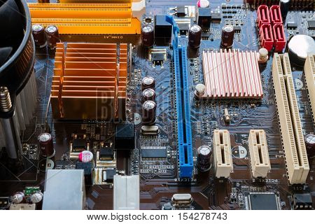 background of chip on motherboard close up