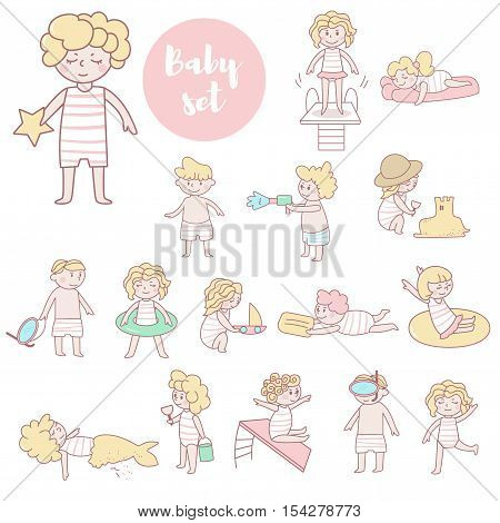 Cute kids in bathing suits. Pool, on shore, swim in sea. Water park, aquapark. Boys and girls. Vector illustration. Cartoon character. Isolated. Flat Children vacations swimming