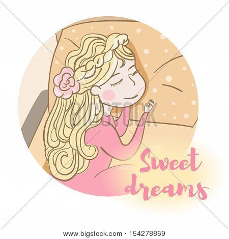 Sweet dreams. Baby girl sleep in bed. Vector illustration. Cartoon character. Isolated. Flat