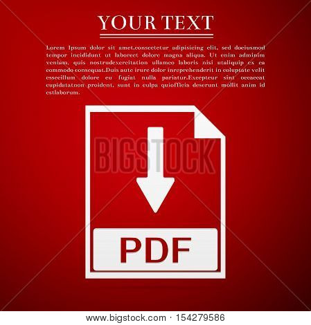 PDF file document flat icon on red background. Vector Illustration