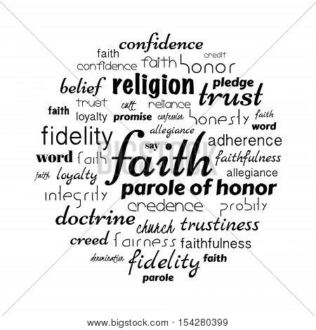 faith tag cloud, related aspects to believes in any doctrine. vector illustration
