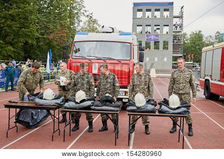MOSCOW, RUSSIA - AUG 20, 2016: Firefighters prepar for competition during the Moscow City Championship of combat deployment in Luzhniki.