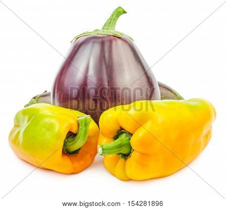 Fresh raw eggplant with yellow bellpeppers isolated on white background.