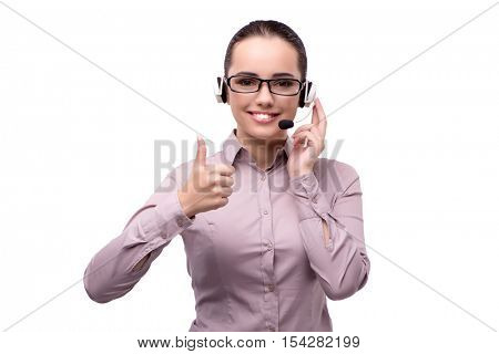 Young call center operator isolated on white