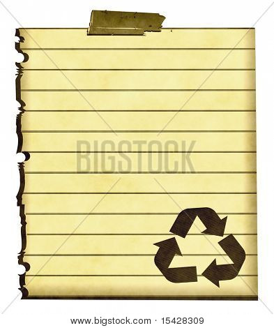Recycle Symbol On Old Piece Of Paper Isolated On White