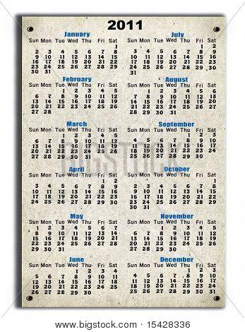 2011 Calendar Sign On Cardboard Background