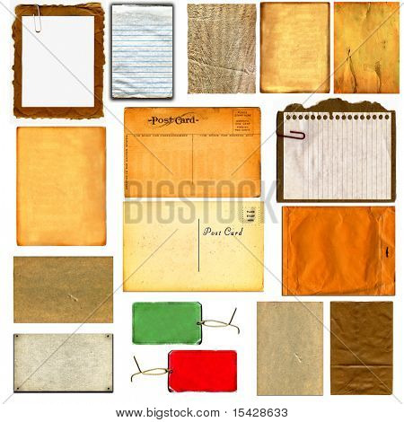 Real Cardboard And Paper Items Isolated On White