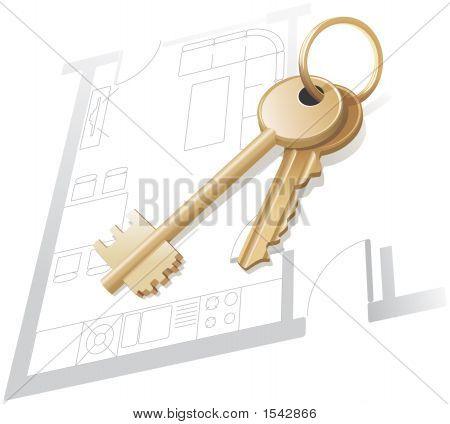 Chaves de ouro, casa plano, Realty. Ilustração vetorial