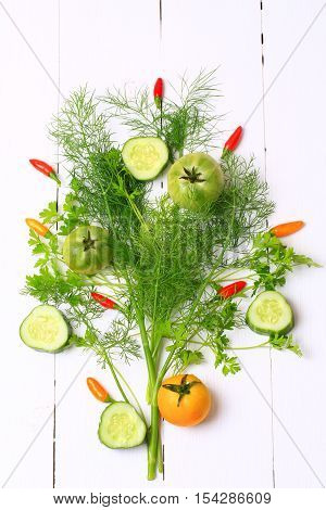 Cover For A Cookbook Magazine Dill And Coriander Chilli Tomato Cucumber On White Wooden Background S